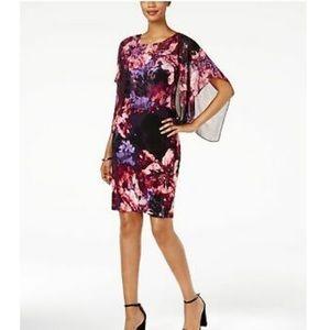 SLNY - Cape-Overlay Floral-Print Sheath Dress